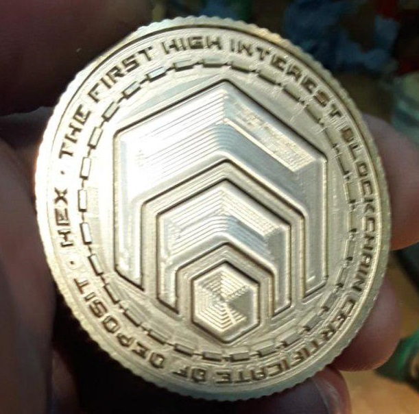 HEX 3D coin CNC machined.